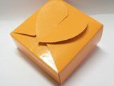 PC-1 Caixa Coração Lisa Laranja, Medidas: 6.5 X 6.5 X 3 cm