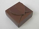 PC-1 Caixa Coração Lisa Marrom, Medidas: 6.5 X 6.5 X 3 cm