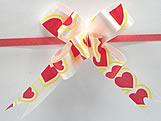 Laço Pequeno Branco Coração Vermelho