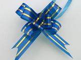 Laço Pequeno Azul Escuro Borda Ouro
