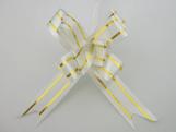 Laço Pequeno Branco Borda Ouro