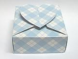 PC-1 Caixa Coração Xadrez Azul Claro, Medidas: 6.5 X 6.5 X 3 cm