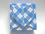 PC-1 Caixa Coração Xadrez Azul Escuro
