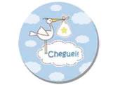 Adesivo Nascimento Cheguei Azul Ref-12AC, Medidas: Ø 5.2 cm cm