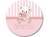 Adesivo Nascimento Ursinha Rosa, Medidas: � 5 - Di�metro de 5cm cm