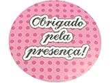 Adesivo Obrigado Rosa/Pink Poa Ref-35AC, Medidas: Ø 5.2 cm cm