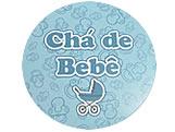Adesivo Chá de Bebê Carrinho Azul Ref-30AC, Medidas: Ø 5.2 cm cm