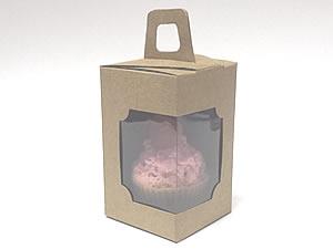 Caixa de Acetato Caixa para 1 Mini Cupcake Combo-25 Kraft