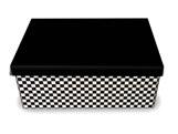 Caixa Organizadora Pequena Xadrez Preto/Branco, Medidas: 35 X 25 X 14 cm
