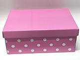 Caixa Organizadora Pequena Poá Rosa/Branco, Medidas: 35 X 25 X 14 cm