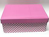 Caixa Organizadora Pequena Xadrez Rosa/Branco, Medidas: 35 X 25 X 14 cm