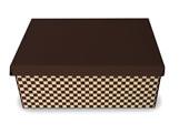 Caixa Organizadora Pequena Xadrez Marrom/Bege, Medidas: 35 X 25 X 14 cm