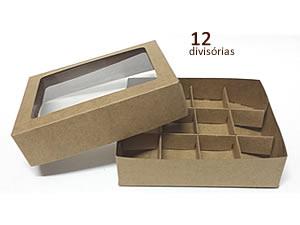 Caixa 12 Divis�rias (Kraft), Medidas: 15 X 12 X 4 cm