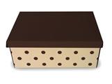 Caixa Organizadora Pequena Poá Marrom/Bege, Medidas: 35 X 25 X 14 cm