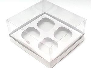 Caixa para 4 Cupcakes Padrão Combo-16, Medidas: 19 X 17.5 X 9 cm