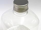 Frasco Quadrado 350ml com tampa Prata Aluminio, Medidas: 7.5 X 7.5 X 12 cm