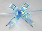 Laço Médio Azul Claro Borda Ouro