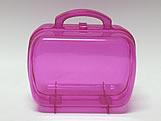 Maleta Pink Acrilica Oval Translucida, Medidas: 13.5 X 7 X 9.5 cm