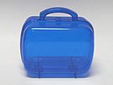 Maleta Azul Escuro Acrilica Oval Translucida, Medidas: 13.5 X 7 X 9.5 cm