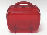 Maleta Vermelha Acrilica Oval Translucida, Medidas: 13.5 X 7 X 9.5 cm