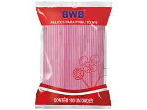 Palito para Pirulito Pequeno Rosa Ref.119 BWB