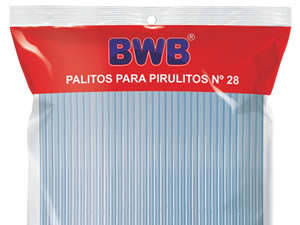 Canudo Palito para Pirulito Grande Azul nº28 Ref.281 BWB