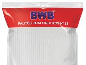 Canudo Palito para Pirulito Grande Branco nº28 Ref.282 BWB
