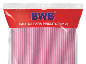 Canudo Palito para Pirulito Grande Rosa nº28 Ref.288 BWB