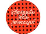 Adesivo Obrigada Vermelho/Preto Poa Ref-77AC, Medidas: Ø 5.2 cm cm