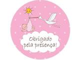Adesivo Obrigado Cegonha Rosa Ref 6100