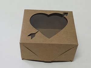 Caixa 4 Visor Coração Flecha (Kraft)
