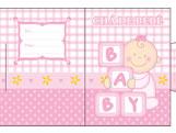 Convite Ch� de Beb� Baby Menina Ref-6216, Medidas: 6.7 x 9.2 cm