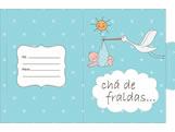 Convite Chá de Fralda Cegonha Azul Ref-6224