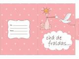 Convite Chá de Fralda Cegonha Rosa Ref-6225