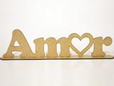 Frase Amor MDF 3mm - Cod. 1287, Medidas: 45 x 0.3 x 12 cm