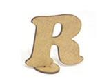 Letra R Madeira MDF 7cm - Cod. 858, Medidas: 7.5 x 0.3 x 7 cm