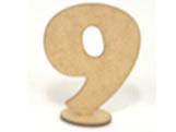 Numero 9 Madeira MDF 7cm - Cod. 1102