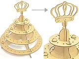 Porta Pirulito 4 Andar Coroa Principe MDF 3mm (80 furos) - Cod. 1165