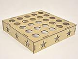 Porta Tubete Estrela MDF 3mm (25 furos) - Cod. 828, Medidas: 25 x 25 x 5 cm
