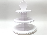 Suporte 3 Andares Branco, Medidas: 31 x 31 x 39 cm