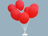 Suporte de Balões com Base de Ferro Ref.9470 Pequeno BWB, Medidas: 10 x 10 x 50 cm