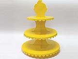 Suporte 3 Andares Amarelo, Medidas: 31 x 31 x 39 cm