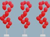 Suporte de Balões com Base de Ferro Ref.9472 Grande BWB, Medidas: 25 x 25 x 160 cm