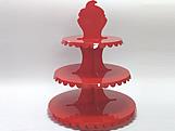 Suporte 3 Andares Vermelho, Medidas: 31 x 31 x 39 cm
