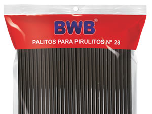 Canudo Palito para Pirulito Grande Preto nº28 Ref.287 BWB
