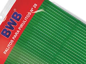 Canudo Palito para Pirulito Grande Verde nº28 Ref.289 BWB