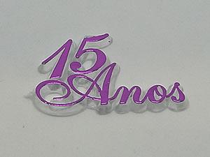 Aplique 15 Anos Lilas/Cristal 10unid Ref.AC131