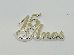 Aplique 15 Anos Ouro/Branco 10unid Ref.AC132