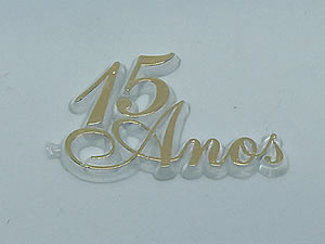 Aplique 15 Anos Ouro/Cristal 10unid Ref.AC133