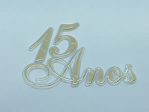 Aplique 15 Anos Ouro/Cristal 5unid Ref.AC103